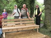 Walkers enjoying the new bench at Sandersons Lane